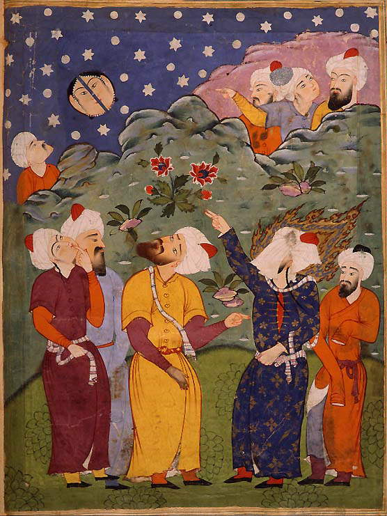 A veiled Muhammad splits the moon.