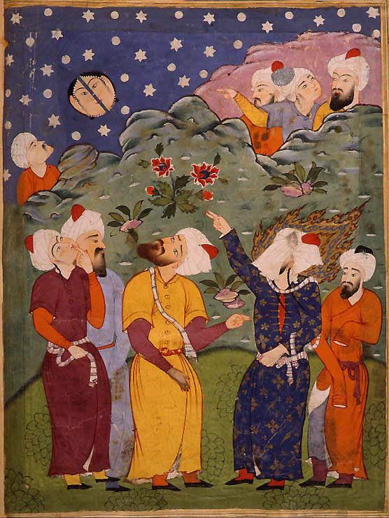 A veiled Muhammad splits the moon.